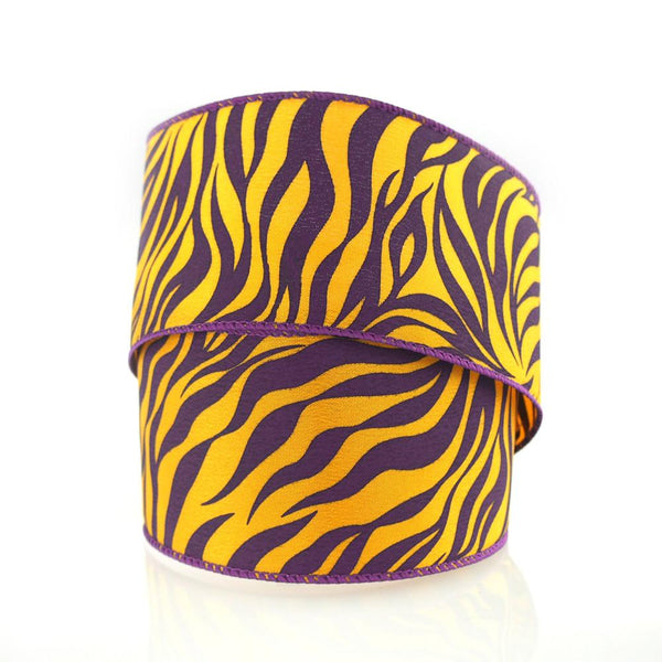 12-Pack, Tiger Print Polyester Wired Ribbon, 2-1/2-inch, 10-yard, Purple/Gold