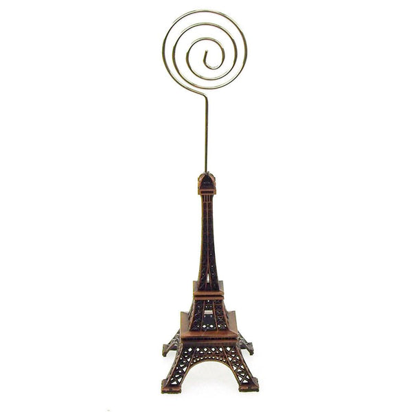 12-Pack, Metal Eiffel Tower Decor Card Holder, 4-inch, Swirl, Brown