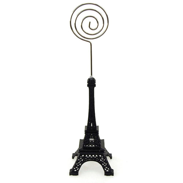 12-Pack, Metal Eiffel Tower Decor Card Holder, 4-inch, Swirl, Black
