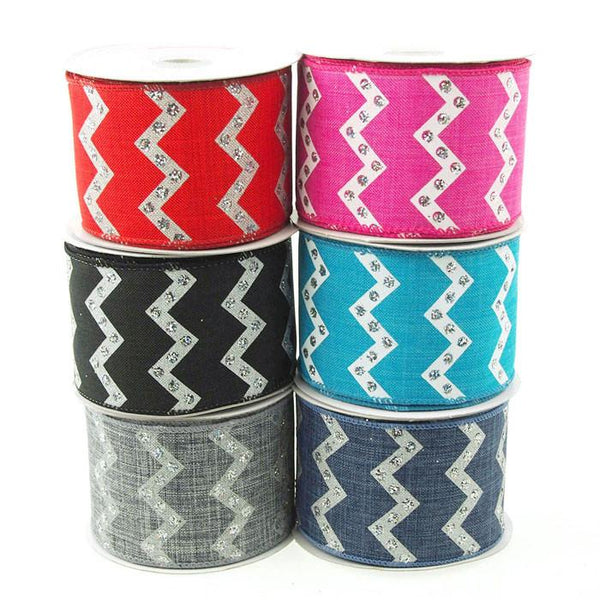 12-Pack, Chevron Glitters Canvas Ribbon, 2-1/2-inch, 10-yard