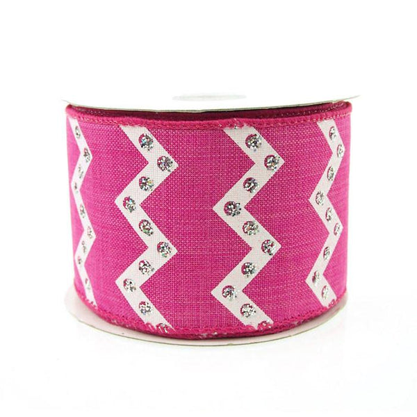 12-Pack, Chevron Glitters Canvas Ribbon, 2-1/2-inch, 10-yard, Fuchsia