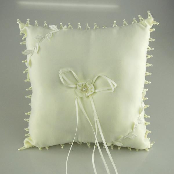 12-Pack, Satin Wedding Ring Bearer Pillow, 10-inch, Pearl Edge, Leaf Vine, Ivory, CLOSEOUT