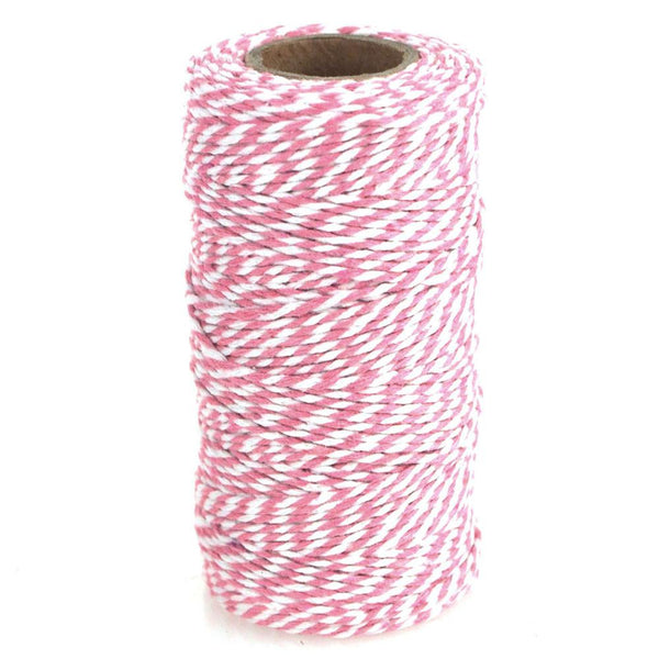 Cotton Bakers Twine Ribbon, 10 Ply, 100 Yards, Pink