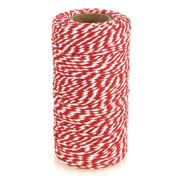 Cotton Bakers Twine Ribbon, 10 Ply, 100 Yards, Red