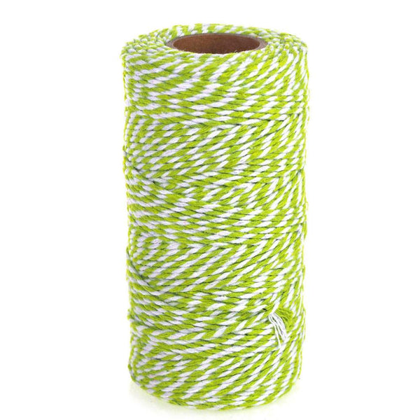 Cotton Bakers Twine Ribbon, 10 Ply, 100 Yards, Apple Green
