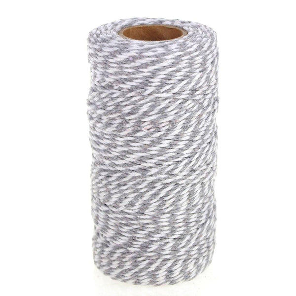 Cotton Bakers Twine Ribbon, 10 Ply, 100 Yards, Silver