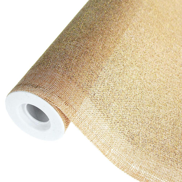12-Pack, Faux Burlap Roll with Glitters, Natural, 19-Inch, 5 Yards