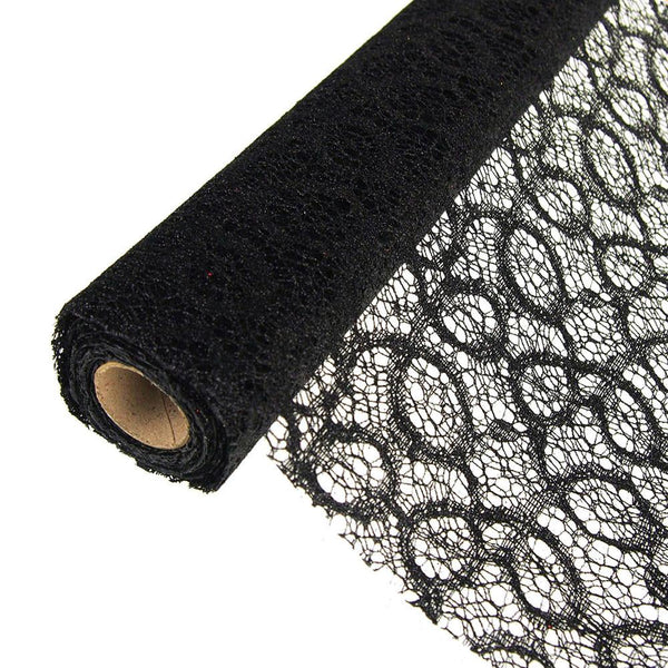 12-Pack, Faux Lace Ribbon with Glitters, 19-Inch, 5 Yards, Black