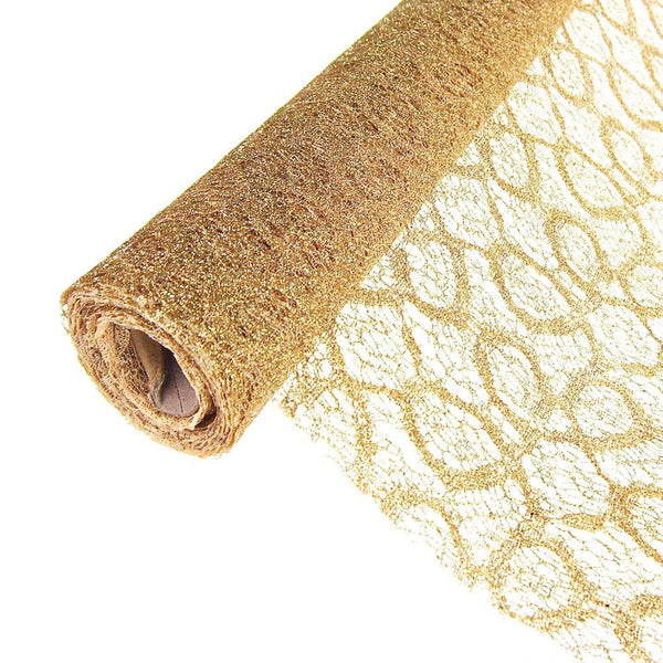12-Pack, Faux Lace Ribbon with Glitters, 19-Inch, 5 Yards, Gold
