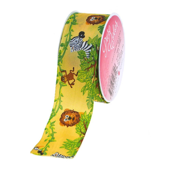 12-Pack, Jungle Animals Grosgrain Ribbon Wired Edge, 1-1/2-Inch, 3 Yards