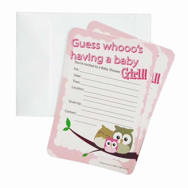 12-Pack, Baby Shower Invitations, 12-Piece, 7-Inches, Owl Baby Girl, Light Pink
