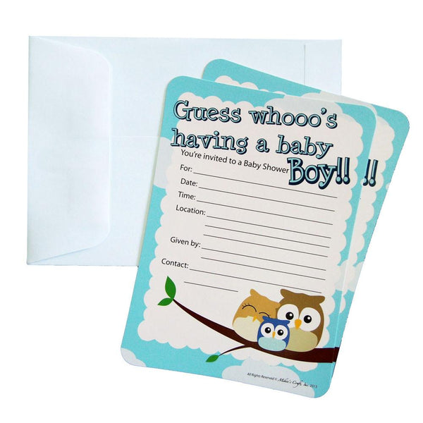 12-Pack, Baby Shower Invitations, 12-Piece, 7-Inches, Owl Baby Boy, Light Blue
