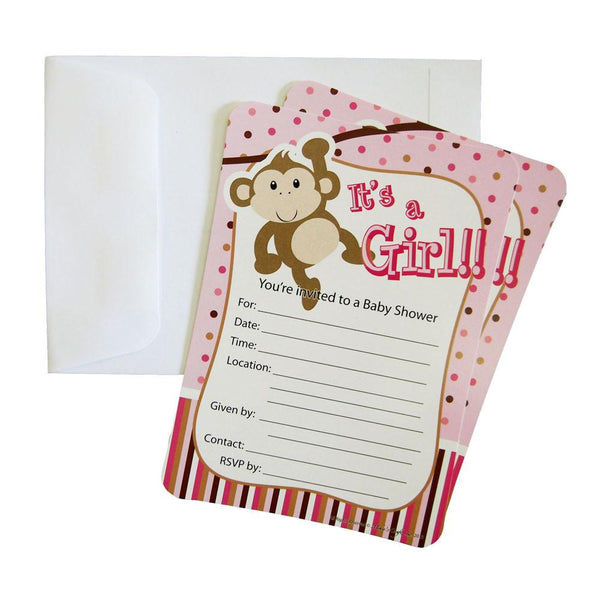 12-Pack, Baby Shower Invitations, 12-Piece, 7-Inches, Monkey Baby Girl, Light Pink
