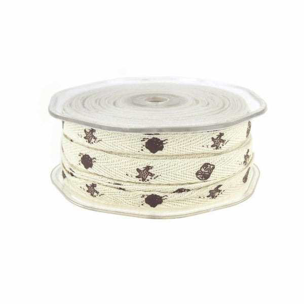 12-Pack, Brown Seashells Print Cotton Twill Ribbon, 3/8-inch, 25-yard