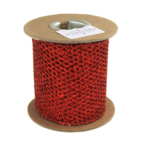Metallic Mesh Glitter Holiday Christmas Ribbon, 3-Inch, 5 Yards, Red