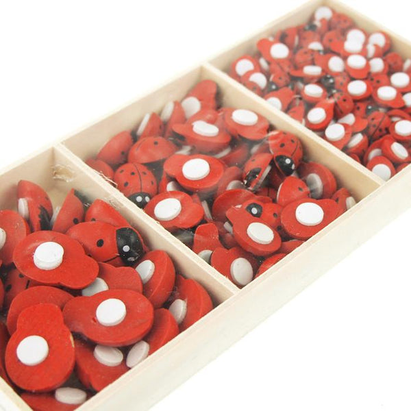 12-Pack, Self Adhesive Lady Bug Wooden Favors, 3 Size, 210-Piece