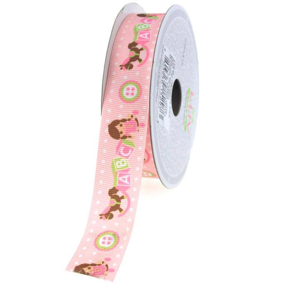 12-Pack, ABC Blocks Grosgrain Ribbon, 7/8-inch, 10-yard, Pink