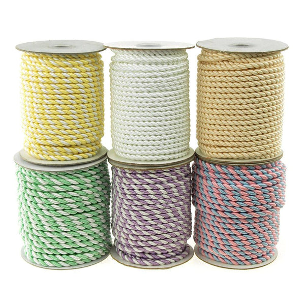 12-Pack, Twisted Cord Rope 2 Ply, 6mm, 25-yard, Pastel