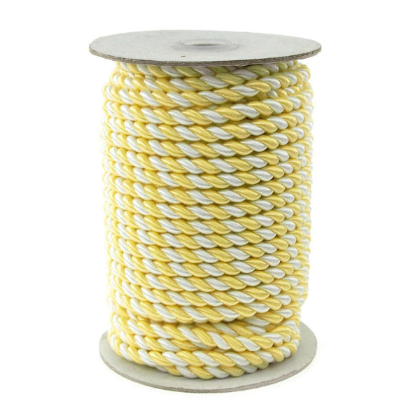12-Pack, Twisted Cord Rope 2 Ply, 6mm, 25-yard, Pastel, White/Yellow