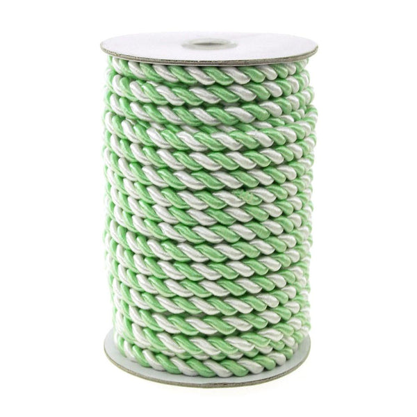 12-Pack, Twisted Cord Rope 2 Ply, 6mm, 25-yard, Pastel, White/Mint Green