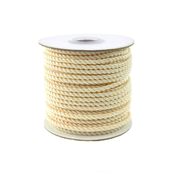 Pastel Twisted Cord Rope 2 Ply, 3mm, 25 Yards, Ivory
