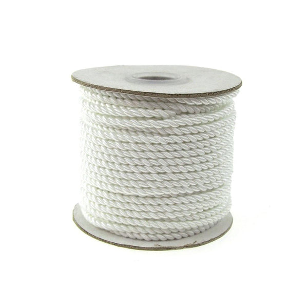 Pastel Twisted Cord Rope 2 Ply, 3mm, 25 Yards, White