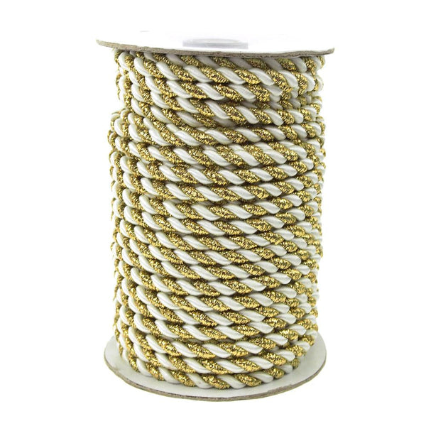 12-Pack, Twisted Cord Rope 2 Ply, 6mm, 25-yard, Gold Trim, White