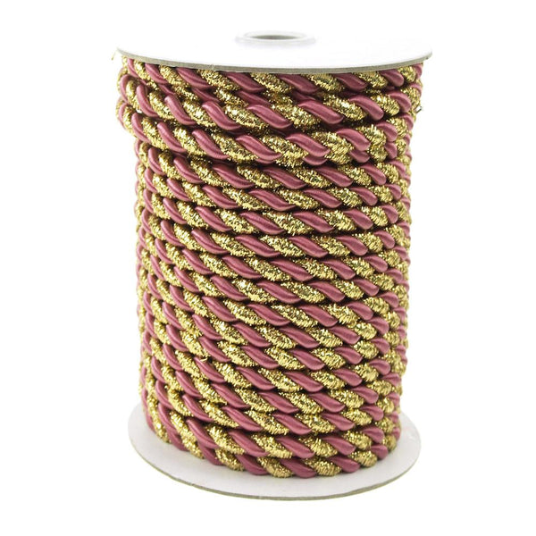 12-Pack, Twisted Cord Rope 2 Ply, 6mm, 25-yard, Gold Trim, Rosy Mauve