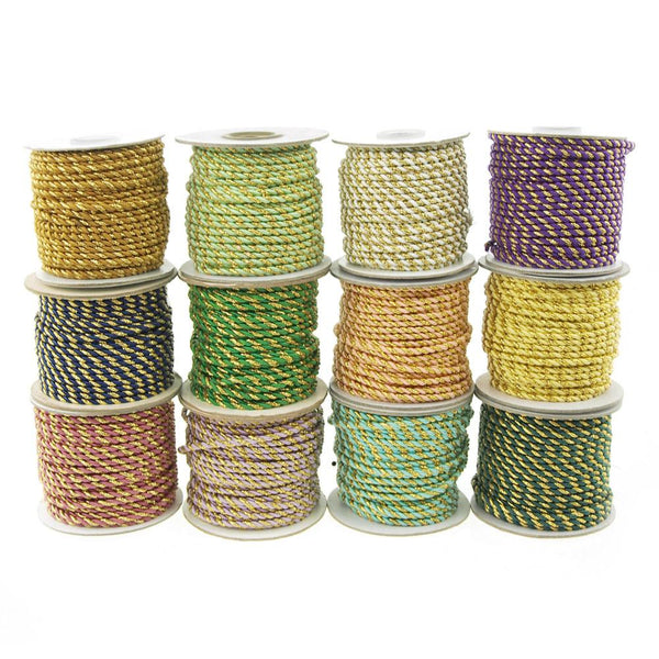 12-Pack, Twisted Cord Rope 2 Ply, 3mm, 25-yard, Gold Trim
