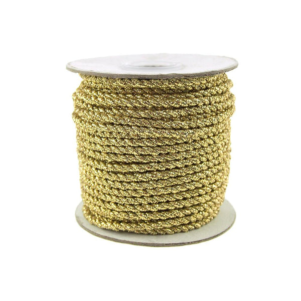 12-Pack, Twisted Cord Rope 2 Ply, 3mm, 25-yard, Gold Trim, Gold