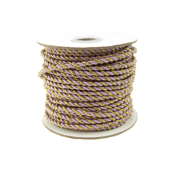 12-Pack, Twisted Cord Rope 2 Ply, 3mm, 25-yard, Gold Trim, Lavender
