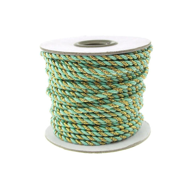 12-Pack, Twisted Cord Rope 2 Ply, 3mm, 25-yard, Gold Trim, Aqua