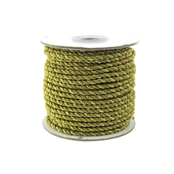 12-Pack, Twisted Cord Rope 2 Ply, 3mm, 25-yard, Gold Trim, Moss Green