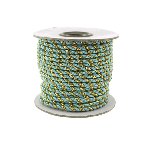 12-Pack, Twisted Cord Rope 2 Ply, 3mm, 25-yard, Gold Trim, Light Blue