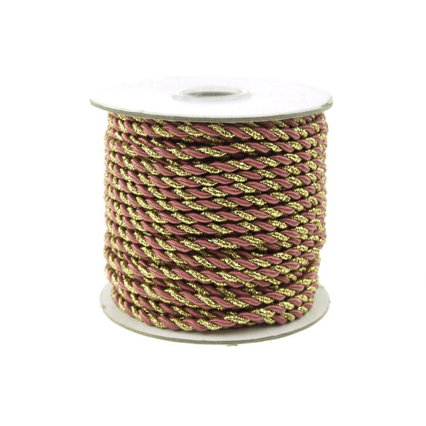 12-Pack, Twisted Cord Rope 2 Ply, 3mm, 25-yard, Gold Trim, Rosy Mauve