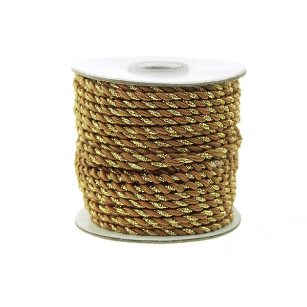 12-Pack, Twisted Cord Rope 2 Ply, 3mm, 25-yard, Gold Trim, Brown