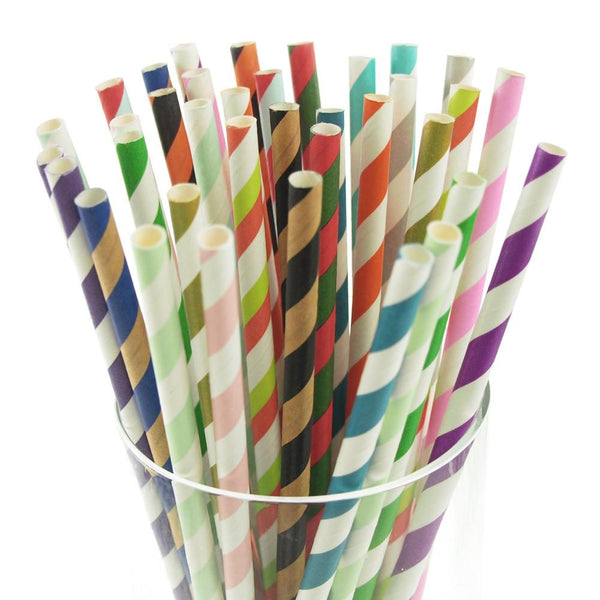 12-Pack, Candy Striped Paper Straws, 7-3/4-inch, 25-Piece