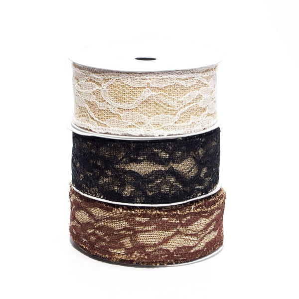 12-Pack, Faux Burlap Ribbon Lace Overlay, 1-1/2-inch, 10-yard