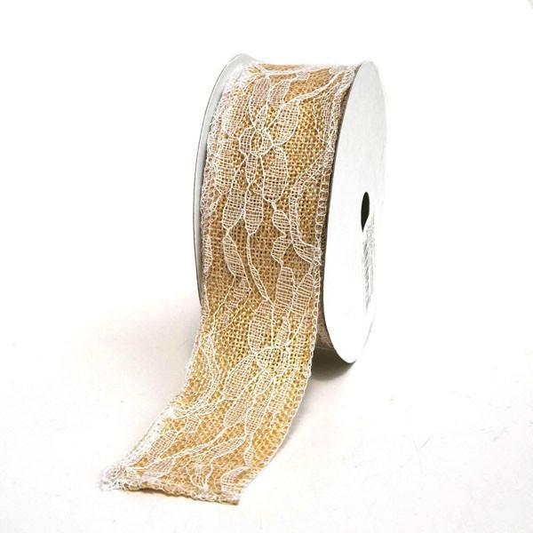 12-Pack, Faux Burlap Ribbon Lace Overlay, 1-1/2-inch, 10-yard, Ivory