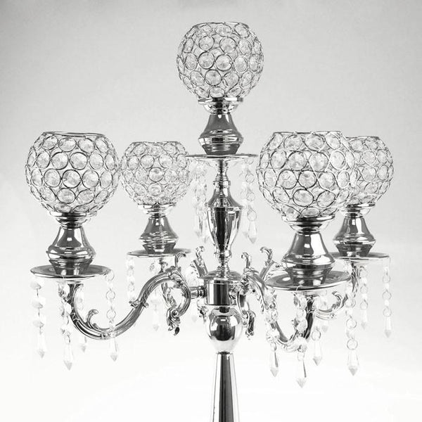 Candelabras Candle Holder Metal Centerpiece, 5 Arms, 28-Inch, Silver