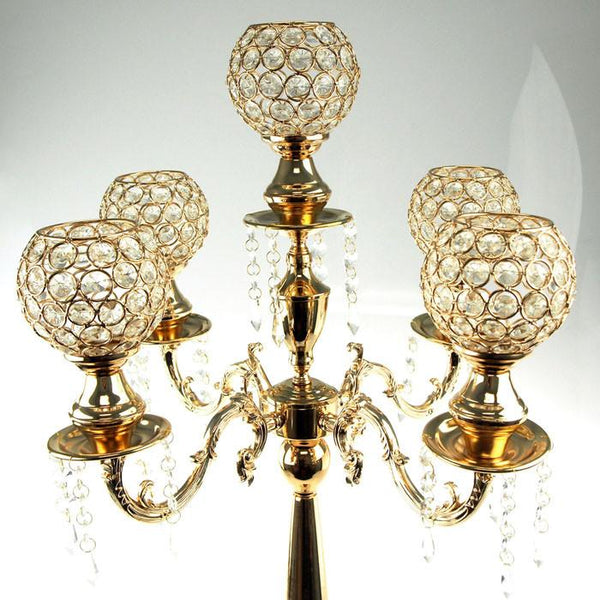 12-Pack, Candelabra Crystal Globe Centerpiece, 5 Arm, 28-inch, Gold