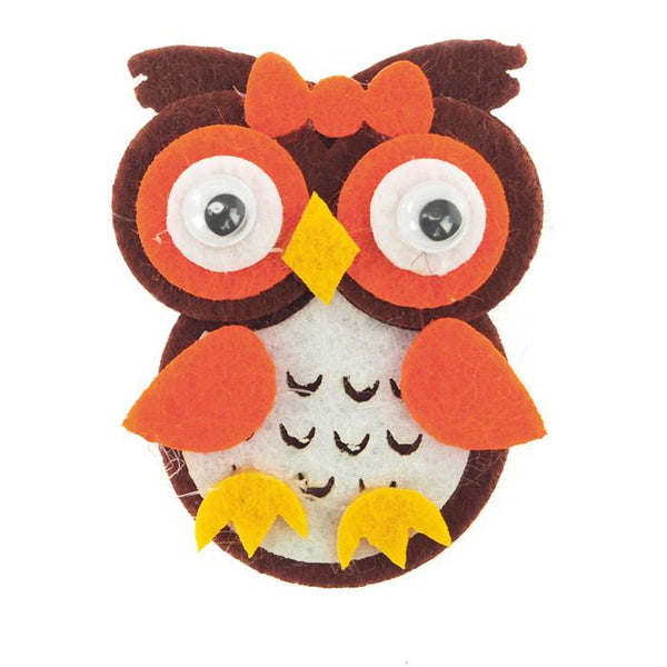12-Pack, Owl Felt Animals, 2-inch, 12-Piece, Browm