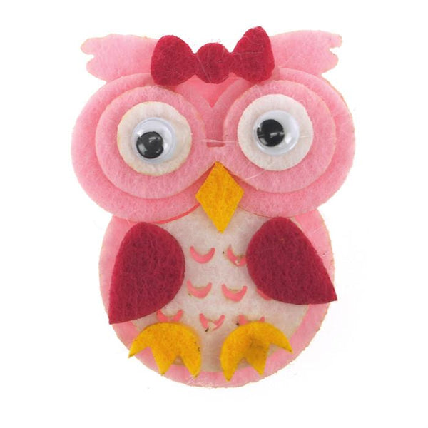 Owl Felt Animals, 2-inch, 12-Piece, Pink