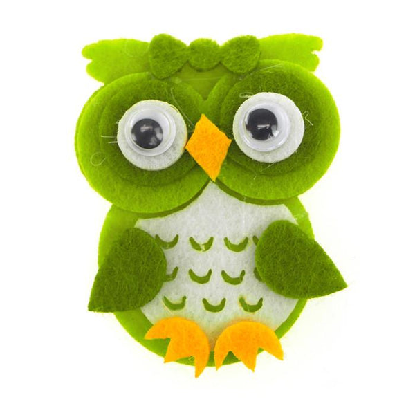 Owl Felt Animals, 2-inch, 12-Piece, Green