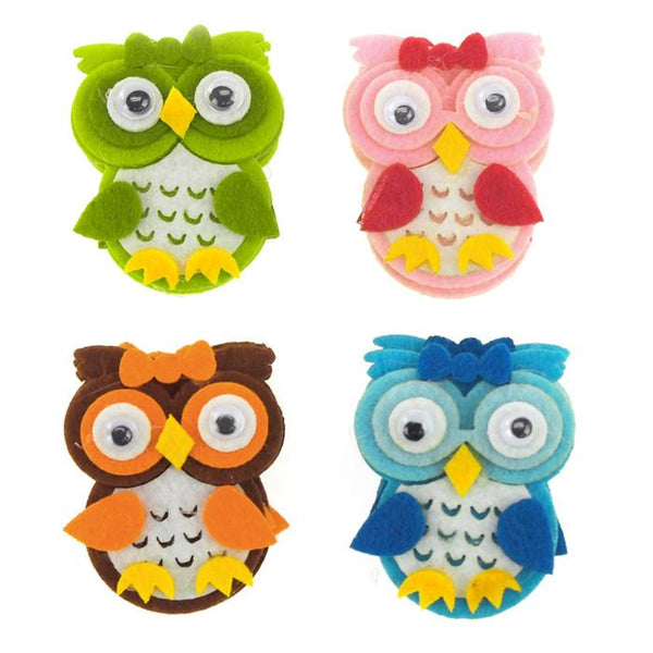 12-Pack, Owl Felt Animals, 2-inch, 12-Piece
