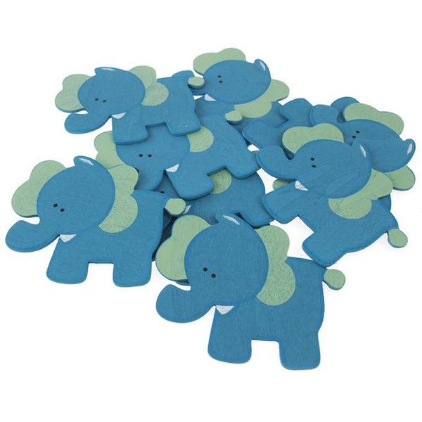 12-Pack, Animal Wooden Baby Favors, 4-inch, 10-Piece, Blue Elephant