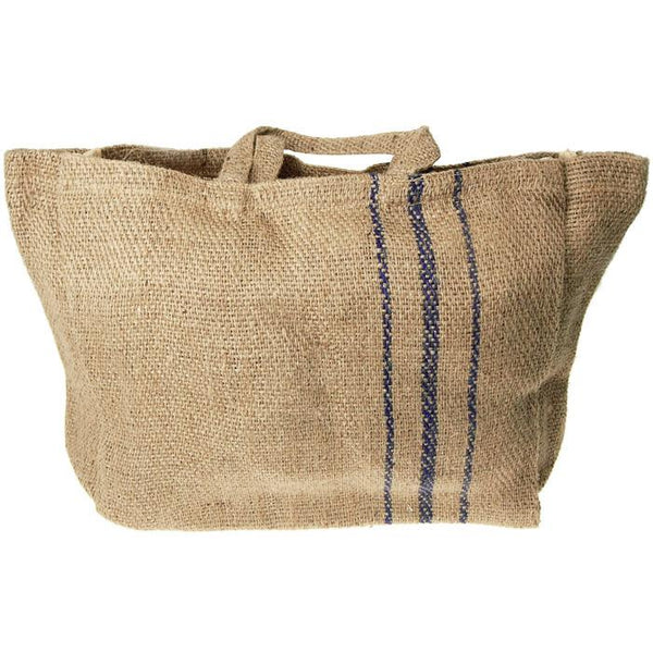 12-Pack, Hessian Burlap Basket Bag with Blue Lines, 16-inch