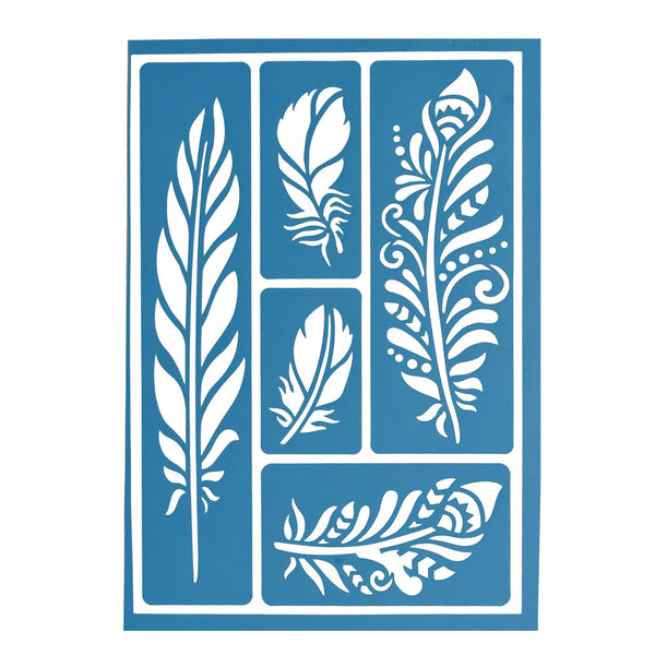 12-Pack, Self-Adhesive Feathers Stencils, 5-Piece