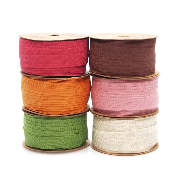 12-Pack, Cotton Linen Blend Fabric Ribbon, 5/8-inch, 25-yard