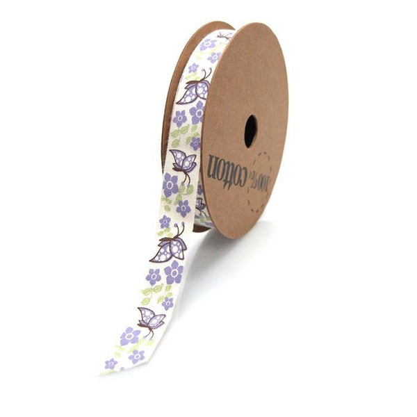 Butterflies Flowers Cotton Ribbon, 5/8-inch, 10-yard, Lavender